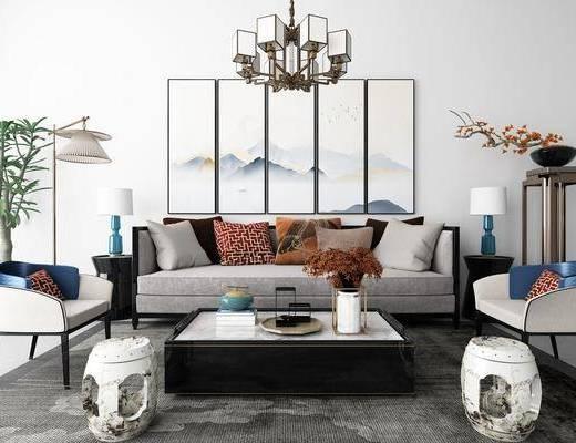 沙发组合, 多人沙发, 茶几, 凳子, 台灯, 边几, 装饰架, 盆栽, 绿植, 吊灯, 风景画, 组合画, 落地灯, 新中式