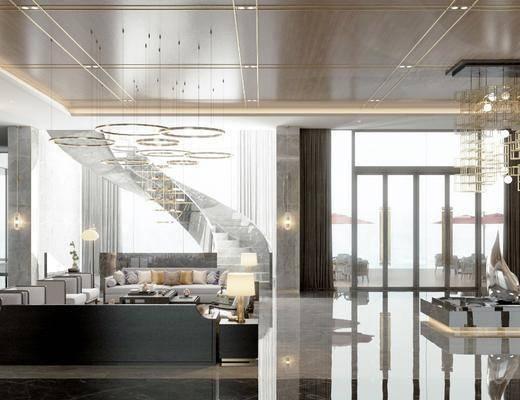 售楼处, 吊灯, 楼梯, 桌椅组合, 景观小品