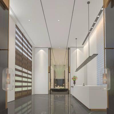 售楼处, 吊灯, 前台, 走廊过道