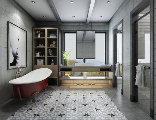 卫生间, 前台, 浴缸, 装饰画, 挂画, 装饰柜, 摆件, 装饰品, 陈设品, 工业风