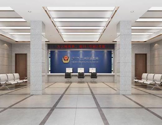 办证大厅, 前台接待, 单人椅, 前台, 电脑, 现代