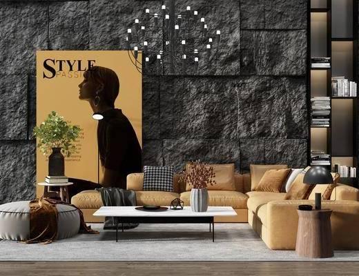 现代沙发组合, 转角沙发, 茶几, 沙发凳, 吊灯