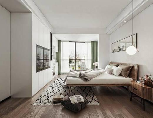 双人床品组合, 窗帘, 床头柜, 墙饰, 挂画