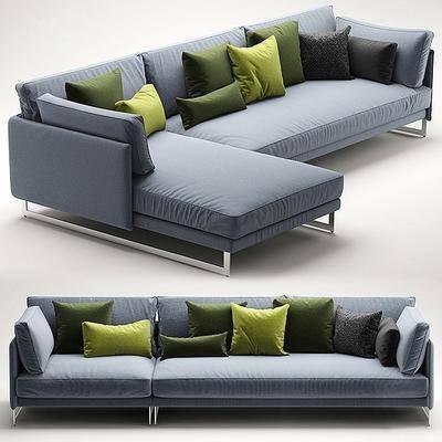 多人沙发, 单人沙发, 转角沙发, 布艺, 抱枕, 现代