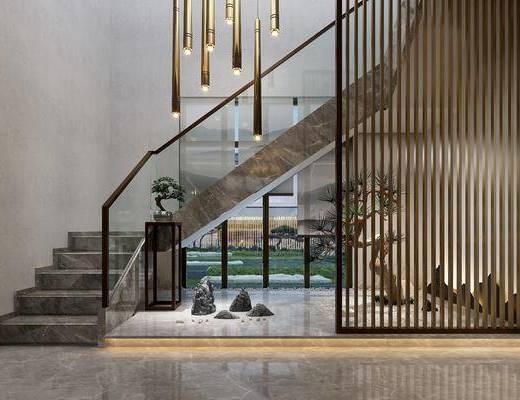楼梯, 吊灯, 树木, 盆栽, 绿植植物, 新中式