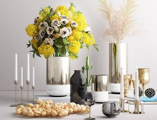 摆件组合, 花瓶, 花架, 植物