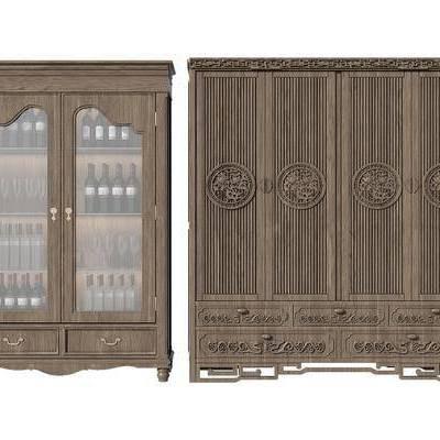 衣柜, 酒柜, 书柜, 边柜, 新中式, 中式, 装饰柜