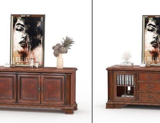 电视柜, 摆件组合, 美式实木电视柜摆件3d模型, 实木电视柜
