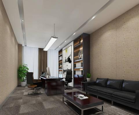 沙发, 茶几, 办公室, 现代, 经理室, 书柜, 置物柜, 陈设品, 盆栽, 办公桌, 办公椅