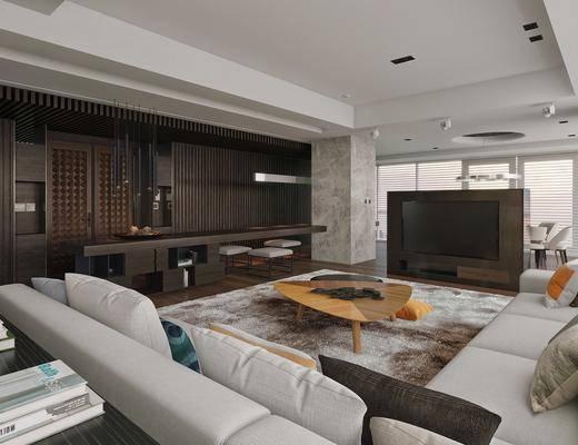 客厅, 多人沙发, 转角沙发, 茶几, 凳子, 吊灯, 现代