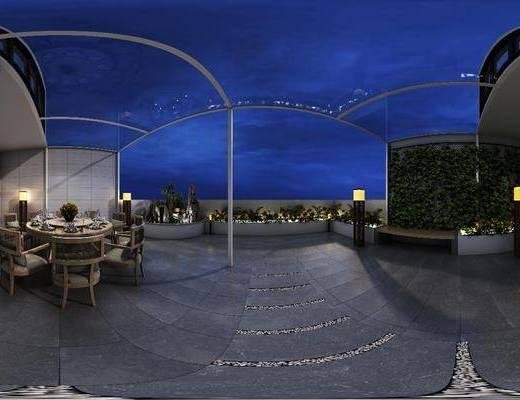 现代花园, 花园, 阳台, 露台