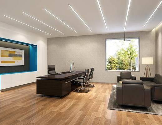老板房, 办公室, 多人沙发, 落地灯, 单人沙发, 办公桌, 办公椅, 单人椅, 现代