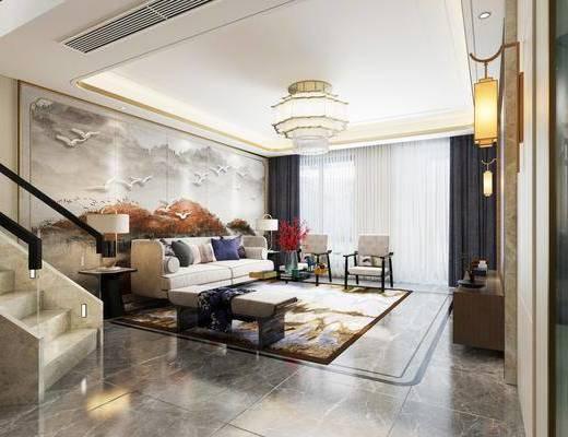 新中式客厅, 新中式沙发, 新中式吊灯, 壁灯, 椅子, 边几, 台灯