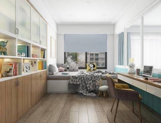 臥室, 榻榻米, 桌椅組合, 裝飾柜, 擺件組合, 書籍, 北歐