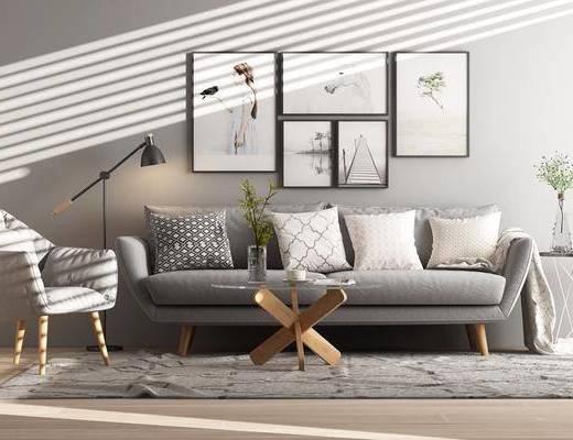 多人沙发, 布艺沙发, 挂画, 单人沙发, 茶几, 落地灯, 北欧