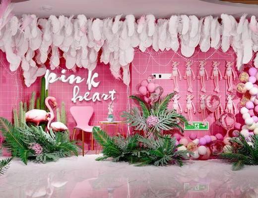 背景墙, 粉色, 现代背景墙, 挂件, 绿植