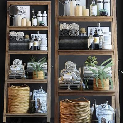 毛巾, 洗发水, 香皂, 收纳筐, 盆栽, 卫浴架, 洗浴用品, 洗漱用品, 卫浴柜架