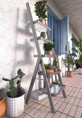 阳台植物, 阳台露台, 装饰架, 盆栽, 绿植植物, 北欧
