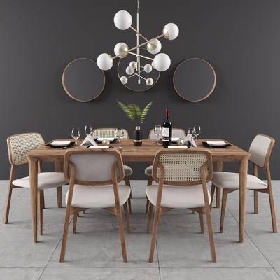 餐桌, 桌椅组合, 餐具组合, 墙饰