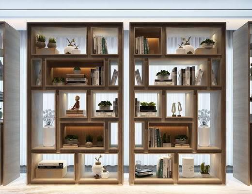 书柜, 陈设品, 摆件, 装饰柜, 置物柜