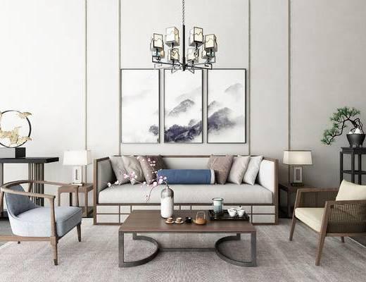 新中式, 沙发组合, 多人沙发, 装饰画, 挂画, 吊灯, 端景台, 边几, 茶几, 台灯, 单椅, 休闲椅
