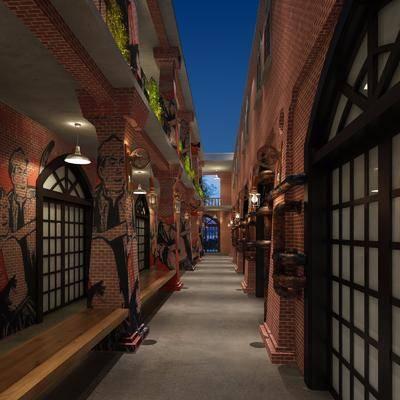 主题餐厅, 走廊过道, 吊灯, 工业风