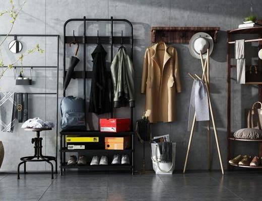 衣架, 衣服, 鞋子, 书包, 鞋盒, 花瓶, 花卉, 帽子, 挂钩, 凳, 现代