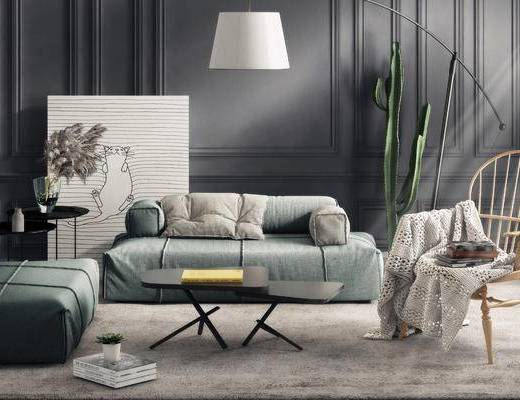 沙发组合, 落地灯, 茶几, 单椅, 抱枕