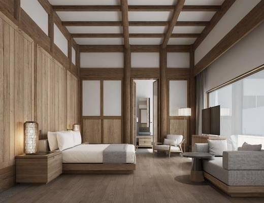 客房酒店, 床具组合, 沙发茶几组合, 新中式