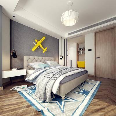 现代卧室, 北欧卧室, 卧室, 双人床, 儿童房