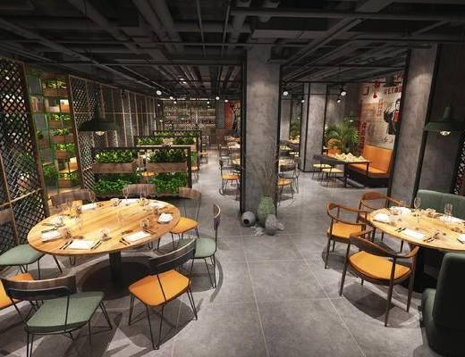 工业风, 餐厅, 餐桌椅, 桌椅组合, 前台, 接待, 置物柜, 门面