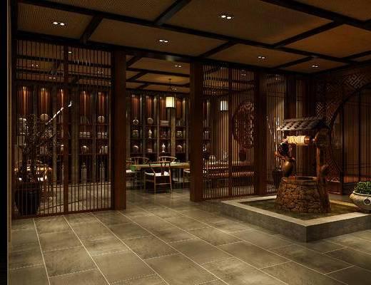 休闲厅, 会客厅, 中式, 新中式