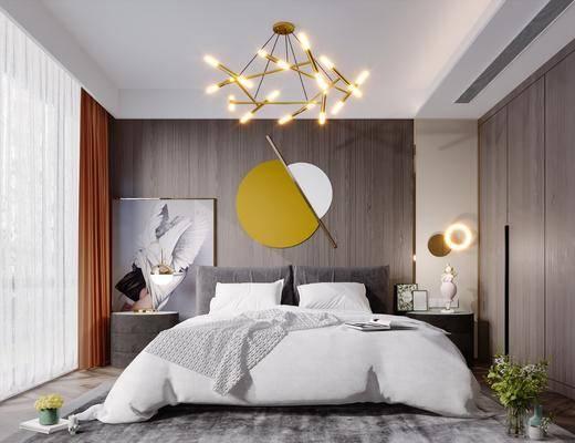 双人床, 墙饰, 吊灯, 床头柜, 台灯, 衣柜
