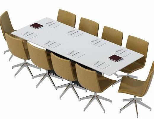 会议桌, 办公桌, 单人椅, 办公椅, 现代