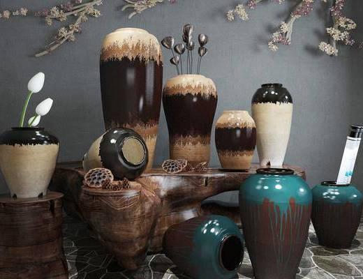 素罐, 陶瓷器皿, 摆件, 中式