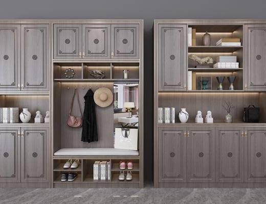 新中式鞋柜, 鞋柜, 置物柜