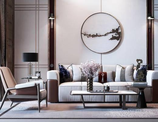 双人沙发, 沙发组合, 抱枕, 茶几, 墙饰, 边几, 台灯, 单椅