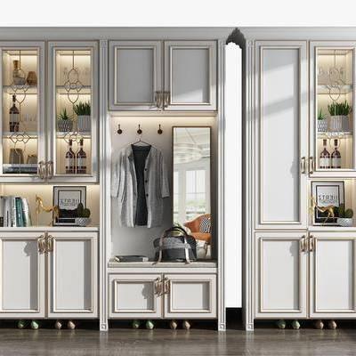 鞋柜組合, 酒柜, 裝飾鏡, 擺件, 裝飾品, 陳設品, 盆栽, 歐式