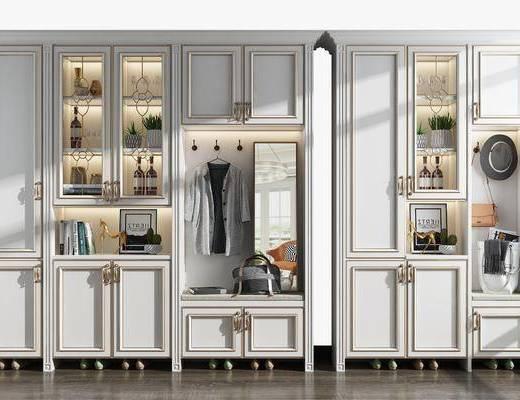 鞋柜组合, 酒柜, 装饰镜, 摆件, 装饰品, 陈设品, 盆栽, 欧式