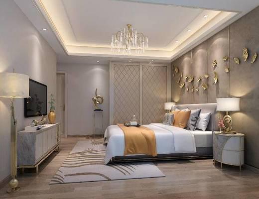 双人床, 边柜, 挂件, 吊灯