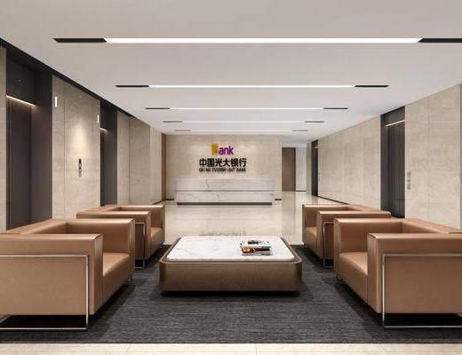 接待区, 等候区, 前台, 单人沙发, 茶几, 电梯间, 现代