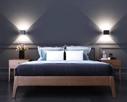 实木床具, 双人床, 壁灯, 床头柜, 壁灯组合, 北欧