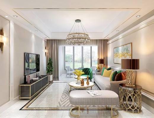 沙发组合, 电视柜, 吊灯, 茶几, 抱枕, 餐桌, 酒柜