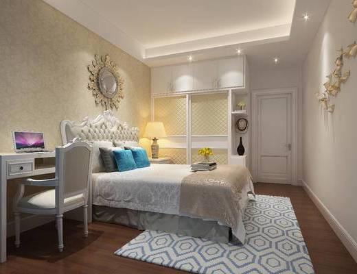 簡歐臥室, 臥室, 雙人床