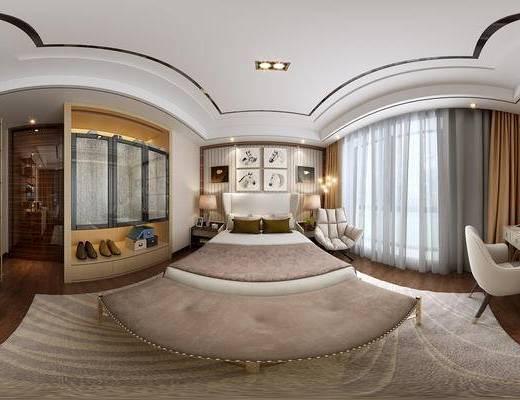 全景, 后现代, 现代, 卧室, 书桌椅, 床, 床尾凳, 衣柜, 装饰架, 装饰画, 挂画, 休闲椅, 窗帘, 地毯