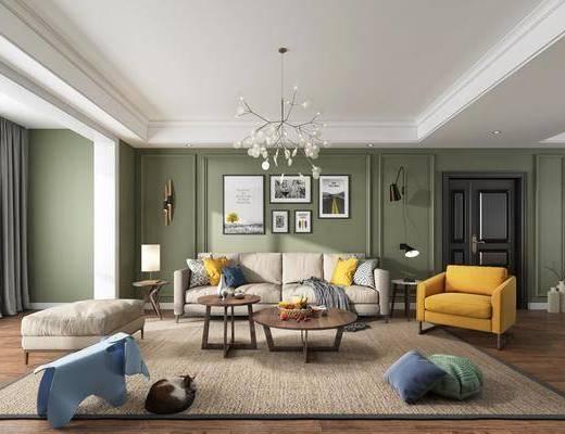 北歐客廳, 客廳, 餐廳, 餐桌椅, 沙發組合