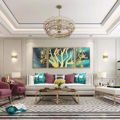 沙發組合, 多人沙發, 茶幾, 單人沙發, 躺椅, 邊幾, 臺燈, 壁燈, 吊燈, 盆栽, 植物, 裝飾畫, 掛畫, 組合畫, 雕塑, 擺件, 裝飾品, 陳設品, 簡歐