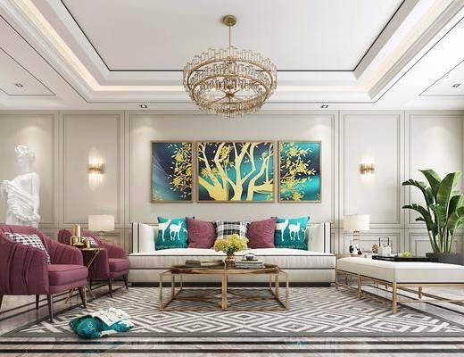 沙发组合, 多人沙发, 茶几, 单人沙发, 躺椅, 边几, 台灯, 壁灯, 吊灯, 盆栽, 植物, 装饰画, 挂画, 组合画, 雕塑, 摆件, 装饰品, 陈设品, 简欧