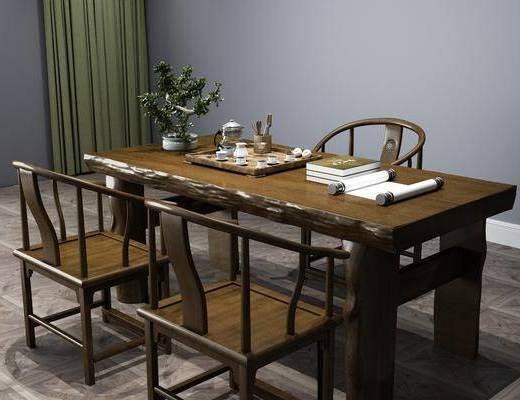 茶桌椅組合, 盆栽, 綠植植物, 中式