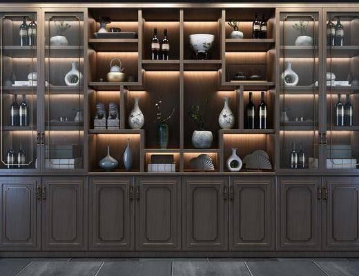 酒柜組合, 裝飾柜組合, 酒瓶組合, 新中式